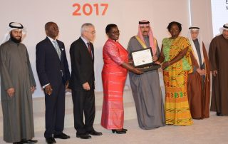 Prof. Naana Jane Opoku-Agyemang, FAWE Africa Board Chairperson and Hendrina Doroba, the Executive Director receive the inaugural 2017 Al-Sumait Prize for the Development of Africa in the field of Education from His Highness Deputy Amir Crown Prince Nawaf Al Ahmed Al Sabah at a ceremony in Dubai, 13 December 2017 [Photo: www.panafricanvisions.com]