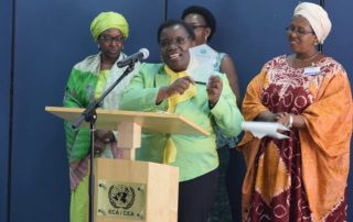 FAWE Africa's immediate former Executive Director Ms. Hendrina Chalwe Doroba (2013-2018) receives the prestigious Women Pioneer Award on 3 February 2019