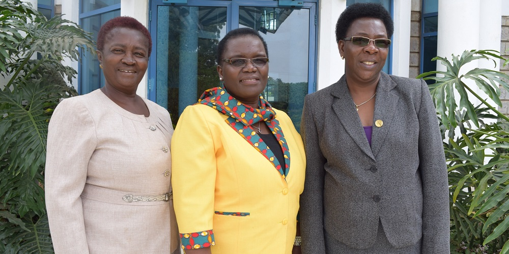 From left: Prof. Naana Jane Opoku-Agyemang, Chairperson of the FAWE Africa Board, Ms. Hendrina Chalwe Doroba, outgoing Executive Director and Mrs. Martha Muhwezi, the Acting Executive Director