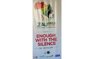 A poster with the official logo and the theme of the conference. | Une affiche avec le logo officiel et le thème de la conférence. ©GPE/Victoria Egbetayo