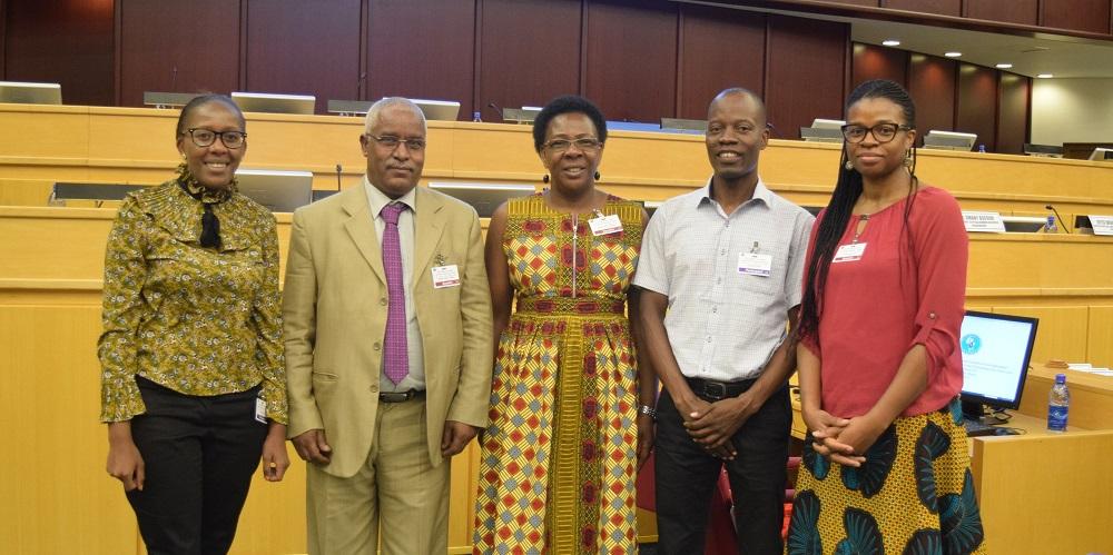 From left: Juliet Kimotho (FAWE), Dr. Kebede Kassa Tsegaye (IGAD), Martha Muhwezi (FAWE), Jackson Nsabo (Save the Children) and Victoria Egbetayo (GPE)