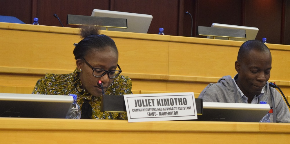 FAWE's Juliet Kimotho, Communication and Advocacy Assistant moderates the panel discussion on the education of refugees, IDPs, and returnees