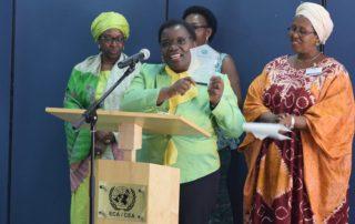 FAWE Africa's immediate former Executive Director Ms. Hendrina Chalwe Doroba (2013-2018) receives the prestigious Women Pioneer Award on 3 February 2019