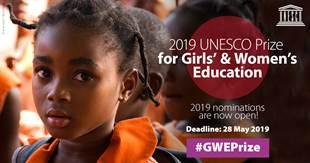 Partner update: UNESCO launches the call for nominations for the 2019 UNESCO Prize for Girls' and Women's Education | Nouvelles des partenaires : L'UNESCO lance l'appel à candidatures pour l'édition 2019 du Prix UNESCO pour l'éducation des filles et des femmes